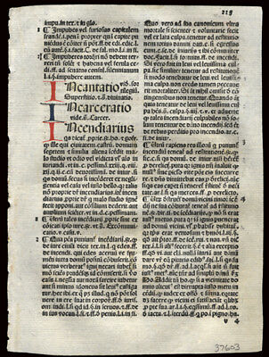 Dictionary of Moral Theology 1492 Incunable Leaf The Summa Angelica Latin