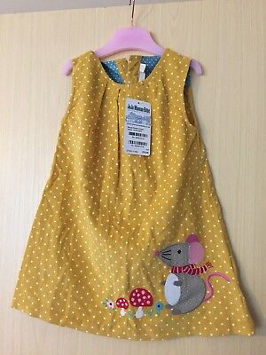 jojo maman bebe 18-24 months spotty Mouse mustard Dress new with tags
