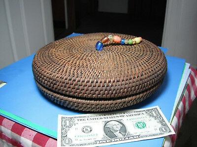 Antique Chinese Asian Fine Woven Round Covered Basket unique wicker design