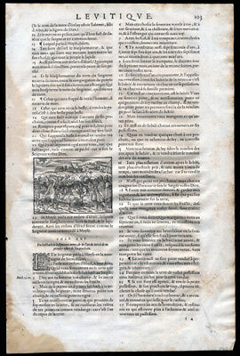 Old Testament 1539 Bible Leaf Leviticus Engraving Blasphemer is Stoned to Death