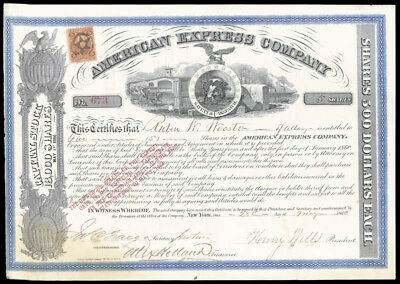 The American Express Company - Stock Certificate Signed 05/28/1866