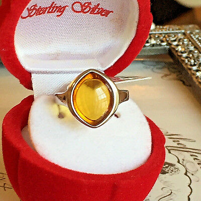 Baltic Amber Ring Size 8,0 Genuine Russian  Butterscotch Egg Yolk Vintage Polish
