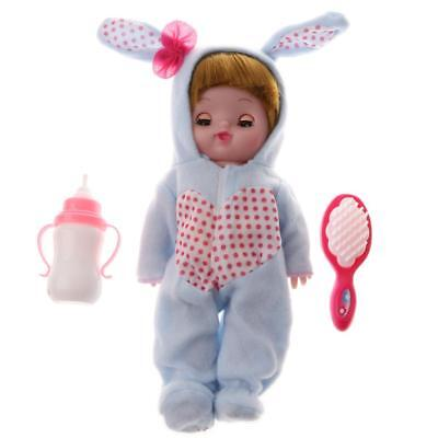 Simulation Plush Dressed Crying Laughing Newborn Doll Milk Bottle Combo Set