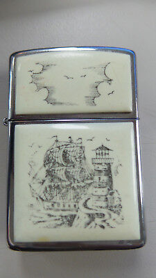 Zippo Lighter Scrimshaw Ship And Lighthouse 1987 L Iii
