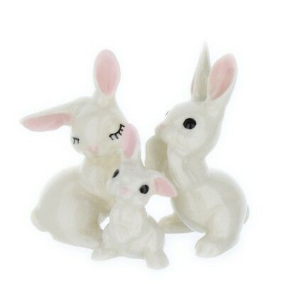 White Bunny Rabbit Family Miniature Figurine Set USA Made by Hagen-Renaker
