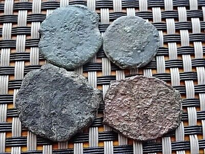 Lot Of 4 Ancient Roman And Byzantine Bronze Coins Unknown / Low Condition
