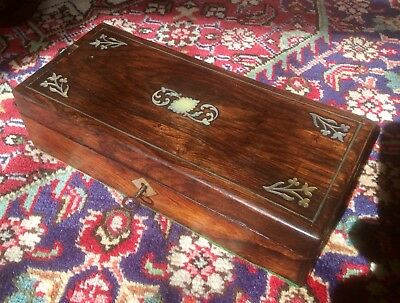 Antique Victorian Wood Sewing Box,Mother Of Pearl Inserts,Jewellery,Trinket Case
