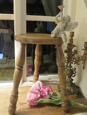 Charming Vintage French Wooden Three Legged Country Milking Stool ~