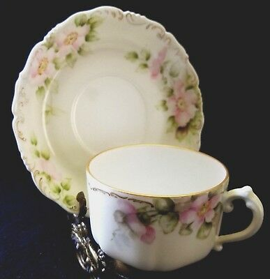 Antique Limoges T&V Cup And Saucer Pink And Green Floral Gold Trim  1894