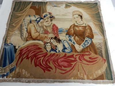 really OLD wool work tapestry antique