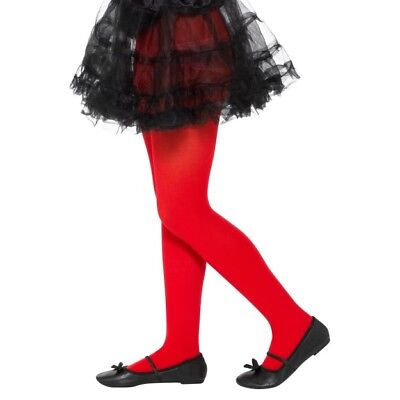 Girls Red Tights Devil Halloween Fancy Dress Accessory Ages 6-12 Years