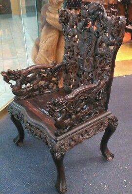 Wood Carved dragon chair