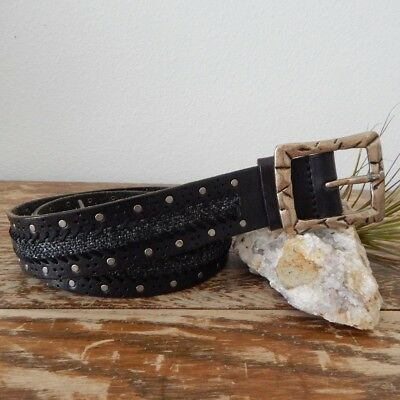 Women's THE BUCKLE Genuine Leather Antique Silver One Piece Studded Belt Size XL