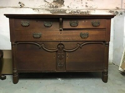 Antique Solid Oak Dresser / Chest of Drawers