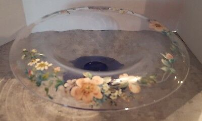 Vintage Glass Compote Clear & Cobalt Blue with Hand painted Flowers