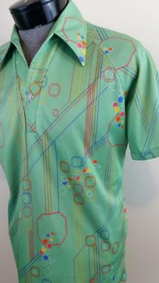 LILLY DACHE Vintage Retro Mod Space Age Science Nerd Lime Green Polo Shirt M