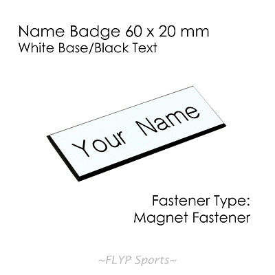 Name Badge Tag Plate White/Black Magnet 60x20mm Personalised Engraved Employee