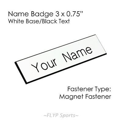 """Name Badge Tag Plate White/Black Magnet 3x0.75"""" Personalised Engraved Employe..."""