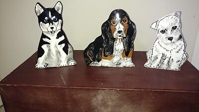 """Lot of 3 Dogs by Nina Lyman Figurine Ceramic 8"""" Vases- Rare Collection- GUC!"""