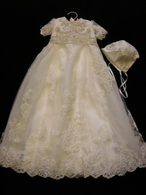 6-9 Months White Baptism Outfits Christening Gowns +Bonnet Crystal Lace Satin