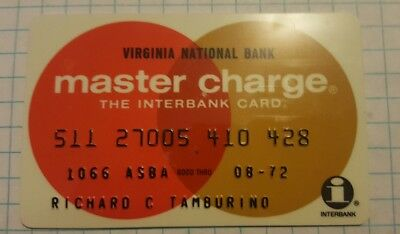 VINTAGE Master Charge The Interbank Card Virginia  National Bank Credit Card 72