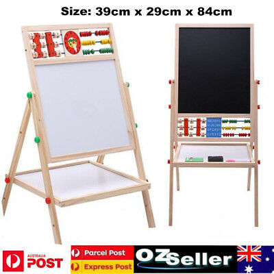 Kids Childrens Wooden Art Easel Activity Whiteboard Blackboard Set Double Sided