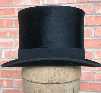 Antique 1800s YOUNG BROS NYC Beautiful BEAVER TOP HAT in Original BOX Very NICE