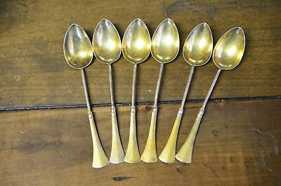 Rare Engraved Antique Russian 84 Sterling Silver Coffee Spoon Set of 6