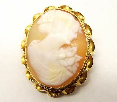 Antique 14K Gold Carved Shell Cameo Brooch Pendant Hellenic Woman Relief Pin Vtg