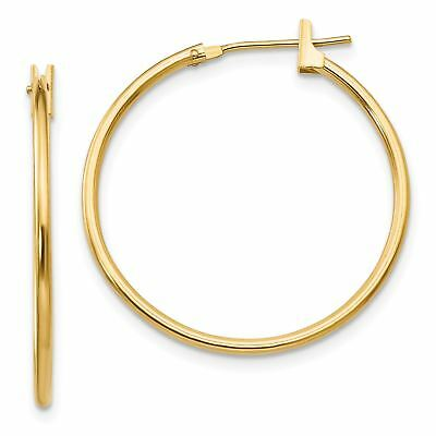 Madi K 14k Yellow Gold Mini Heart Hinged Post Hoop Earrings