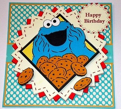 Handmade Greeting Card 3d All Occasion With The Cookie Monster