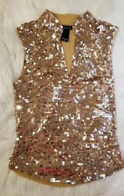 Vintage Victorias Secret Moda Gold Sequins Stretchy Crop Top Shirt Xtra Small XS
