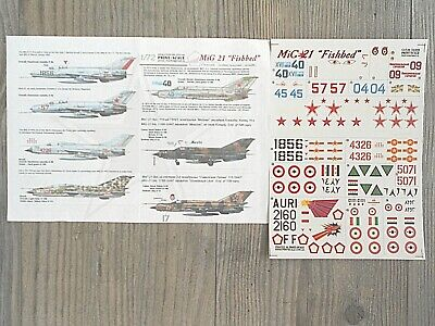 "Mig-21Mf/pf/f ""15 Ussr/india/syria/china/vietnam/egypt"" Print Scale Decals 1/72"