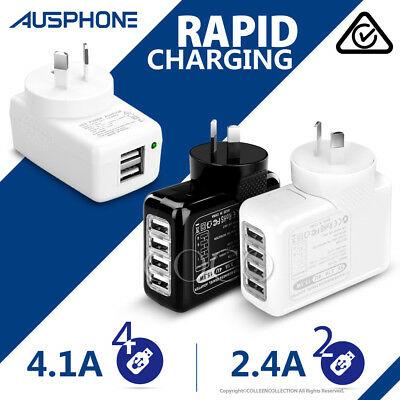 4.1A USB Wall AC Charger Plug Adapter iPhone XS Max XR  Samsung S9 S10 Note 10