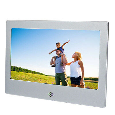 "7"" Digital Photo Frame Silver Metal Frame LED Picture Video Player with Remote"