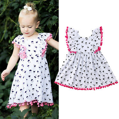 Sleeveless Kids Baby Girls Flamingo Floral Party Pageant Dress Sundress Clothes