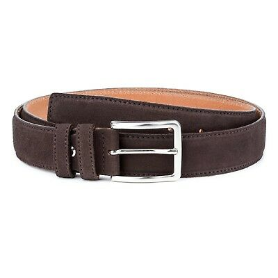 Dark Brown suede belt Men's 100% Genuine leather by Capo Pelle Made in Italy