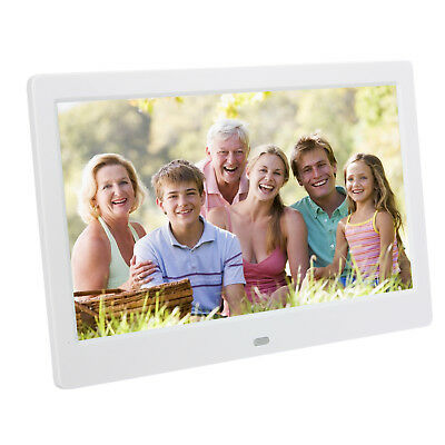 """2018 Large HD 10"""" Electronic Digital White Photo Frame LED Picture Video Player"""