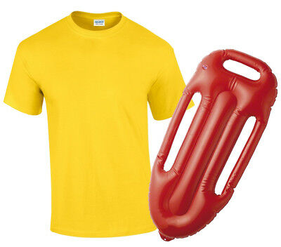 Lifeguard Costume Yellow T-Shirt And Float 1980S Fancy Dress Outfit Summer  sc 1 st  PicClick UK & LIFEGUARD COSTUME RED T-Shirt And Float Mens Womens Fancy Dress ...