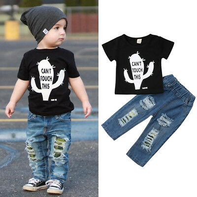 Toddler Baby Boy Casual Outfit Cactus T-shirt Tops+Ripped Jeans Pants Clothes AU