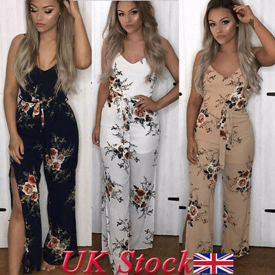 Ladies Boho Women Floral Holiday Long Playsuits Sleeveless Trouser Jumpsuit 6-16