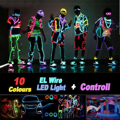 5M Battery Operated Luminescent Neon LED Lights Glow EL Wire String Strip Rope.