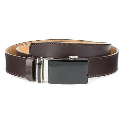Mens Brown Ratchet Belt 100% Leather Automatic buckle Classic Collection ITALY