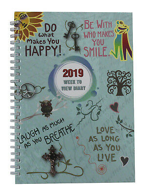 2019 A5 Week To View  Spiral Bound Diary Hardback Cover - Slogan Art Cover