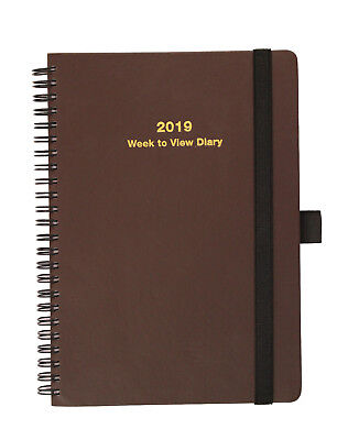 2019 A5 Week To View  Spiral Bound Diary Soft Cover - Brown