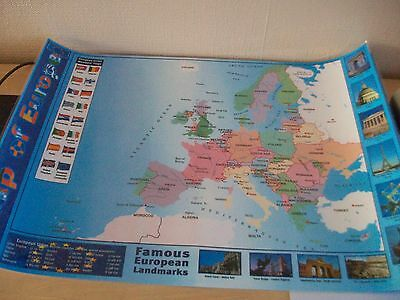 Map of europe paper laminated encapsulated poster famous european map of europe paper laminated encapsulated poster famous european landmarks gumiabroncs Images