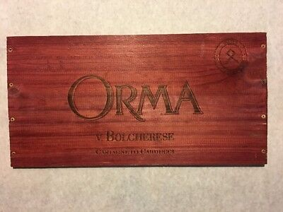1 Rare Wine Wood Panel Orma Bolgherese Vintage Red CRATE BOX SIDE 4/18 557