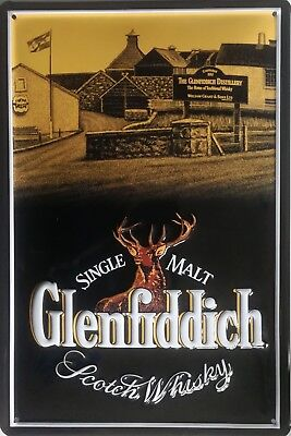 Glenfiddich Whiskey Blechschild 20x30cm Scotch Reklame Whisky Hirsch Werbung