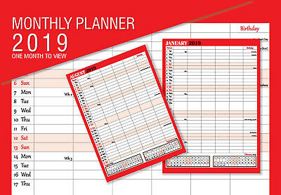 2019 Family Appointment Planner/Calendar One Month to View/home/office Black&Red