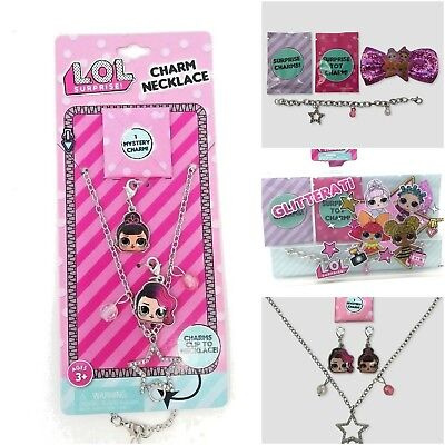 LOL Surprise Doll Jewelry Charm Girls Necklace or Bracelet and Bow Set L.O.L.